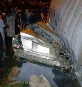 Fallen truck container crushes two to death in Lagos