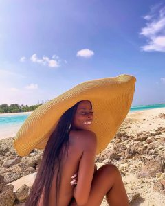 BBNaija's Khloe strips to her panties as she enjoys her 'best life' on a beach in Maldives (photos)