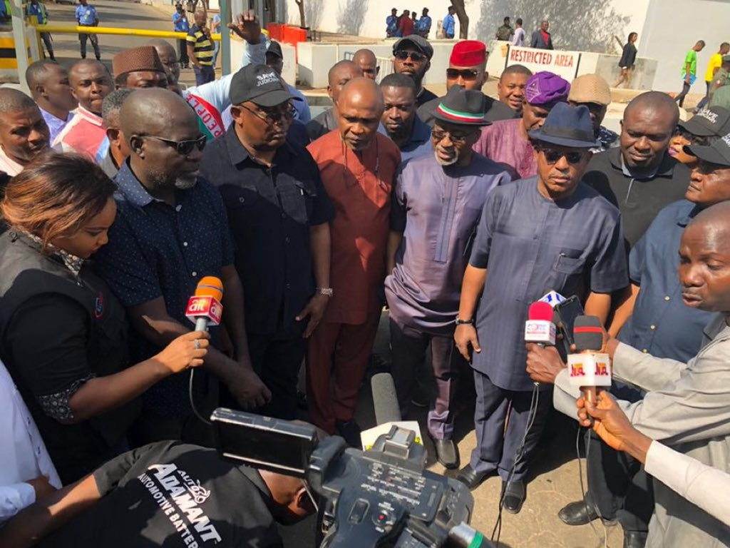 PDP leaders protesting at EU and French embassies