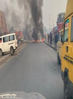 Scene of the incident where Okada riders and police clashed in Lagos