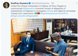 COVID-19: FG invites Chinese Ambassador over maltreatment of Nigerians in China