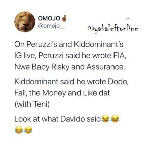 Davido reacts after Kiddominant and Peruzzi revealed the song they wrote for him.