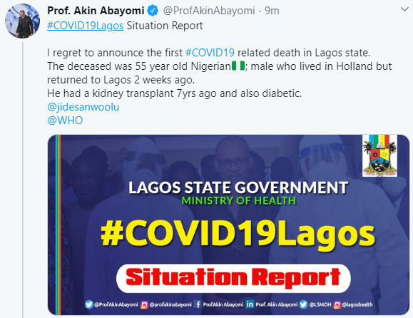Lagos state Commissioner for Health confirms death of COVID-19 patient in the state, gives details of the deceased