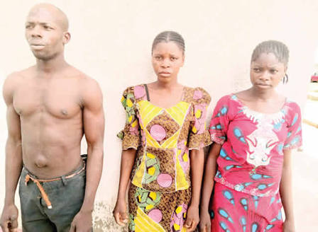 The sisters and the motorcyclist after they were arrested