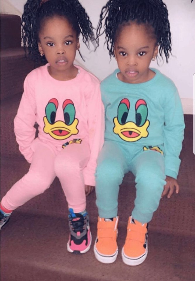 Naira Marley shares photos of her twin girls Aisha and Samiat