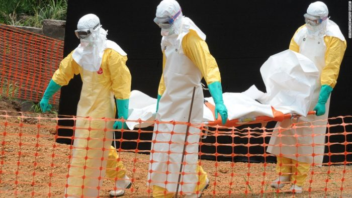 Ebola victim being taken out for burial