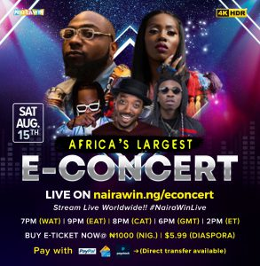 Davido, Tiwa Savage, Naira Marley and Mayorkun to perform in 4KHD at Africa's largest E-concert, NairaWin Live
