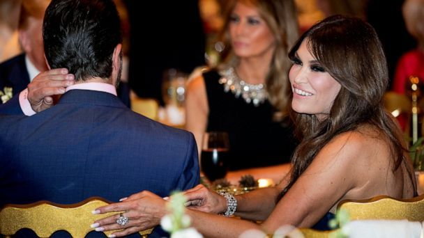 PHOTO: Kimberly Guilfoyle, right, and Donald Trump Jr., the son of President Donald Trump, left, sit with President Donald Trump, background left, and first lady Melania Trump, center, at Mar-a-lago in Palm Beach, Fla., Tuesday, Dec. 24, 2019. (Andrew Harnik/AP, File)