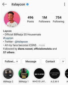 Laycon becomes first ever #BBNaija Housemate to get to 1million followers while still in the house