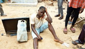 Photo Of Suspected Thief Who Was Nearly Lynched For Allegedly Stealing Plasma TV In Abuja