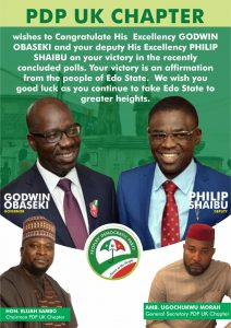 UK chapter of PDP congratulates Godwin Obaseki and Philip Shaibu
