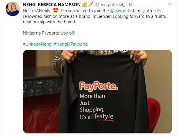 Nengi bags endorsement