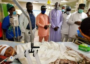 Gov. Ugwuanyi, Nwodo, others visit school children involved in road accident, offers to pay medical bills