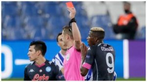 Nigerian Footballer, Victor Osimhen Receives First Red Card Of His Football Career
