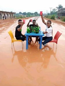 Residents celebrate their 'good road' at Nekede, Imo State. (Photos)