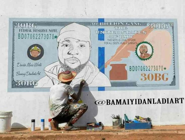 Davido's face painted on a dollar bill by a talented artist