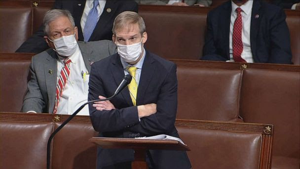 PHOTO: Rep. Jim Jordan stands with his arms crossed during the U.S. House Impeachment debate and vote at the U.S. Capitol, Jan. 13, 2021, as charges are brought against President Donald Trump for a second time. (ABC News)