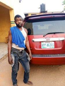 Photo Of Driver Who Was Caught Running Away With His Boss' Stolen Car In Ogun