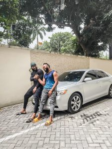 Singer, Flavour surprises his childhood friend with a car (photos)