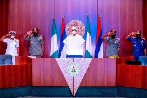Buhari decorates newly appointed Service Chiefs, charges them to secure the country