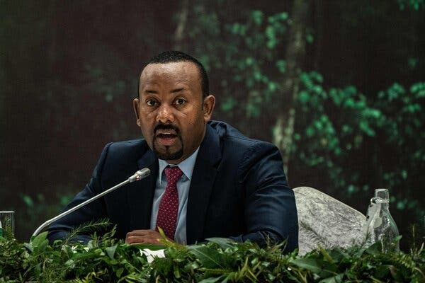Prime Minister Abiy Ahmed of Ethiopia speaking in Addis Ababa on Tuesday.