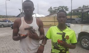 Bayelsa Police nab suspected armed robbers, recover two locally made pistols, five cartridges